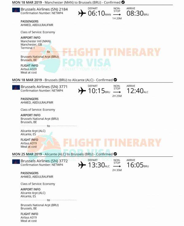 flight itinerary for visa application free