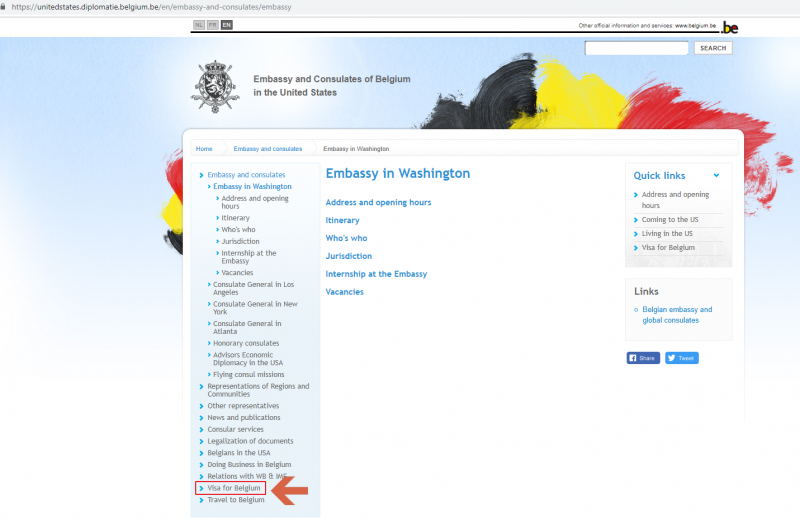 Belgium Embassy Website