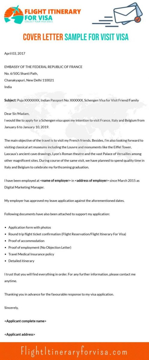 Cover Letter Sample for Visit Visa