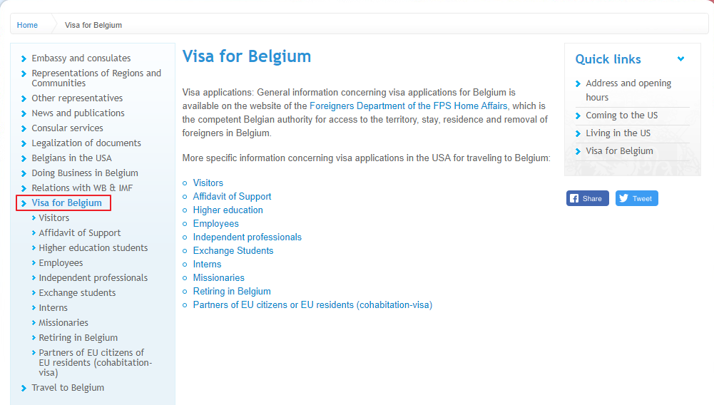 Belgium Embassy's website