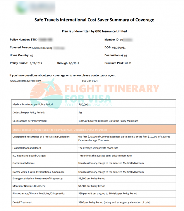 Travel Insurance Certificate
