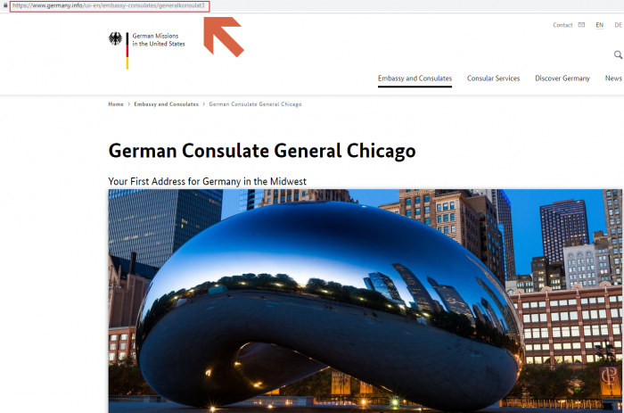 Germany Consulate General Chicago website home page