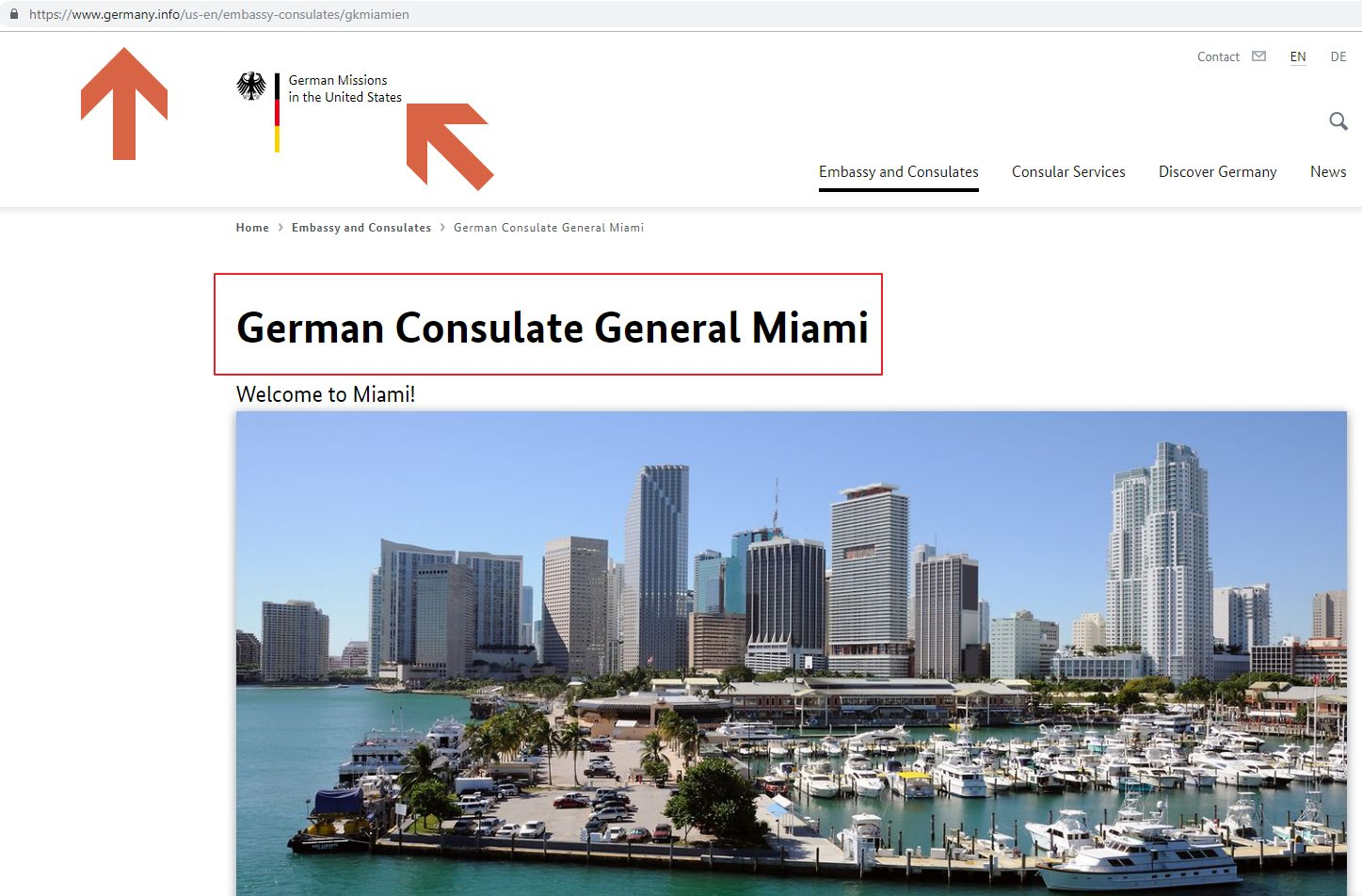 Germany Consulate General Miami website