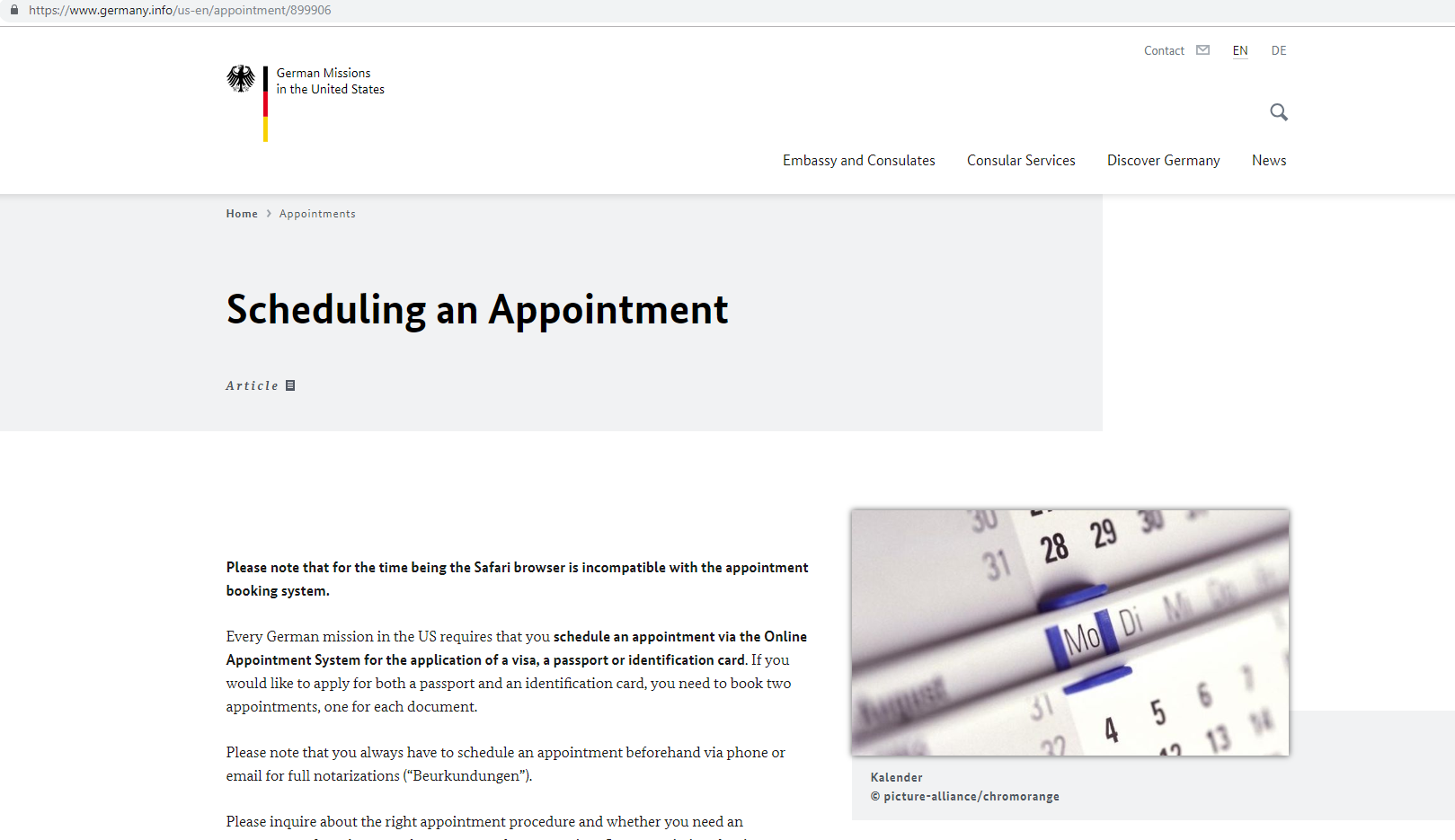 Germany Consulate General Chicago website appointment page