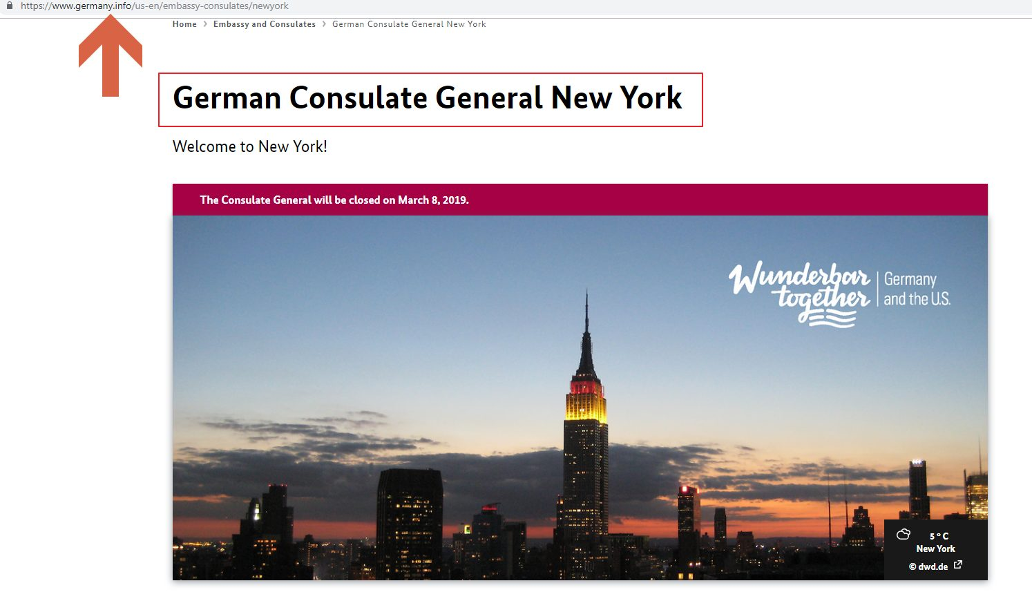 Germany Consulate General New York website