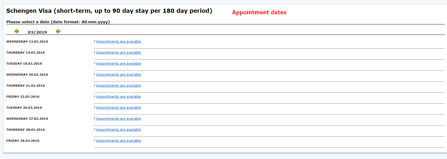 appointment dates for visa