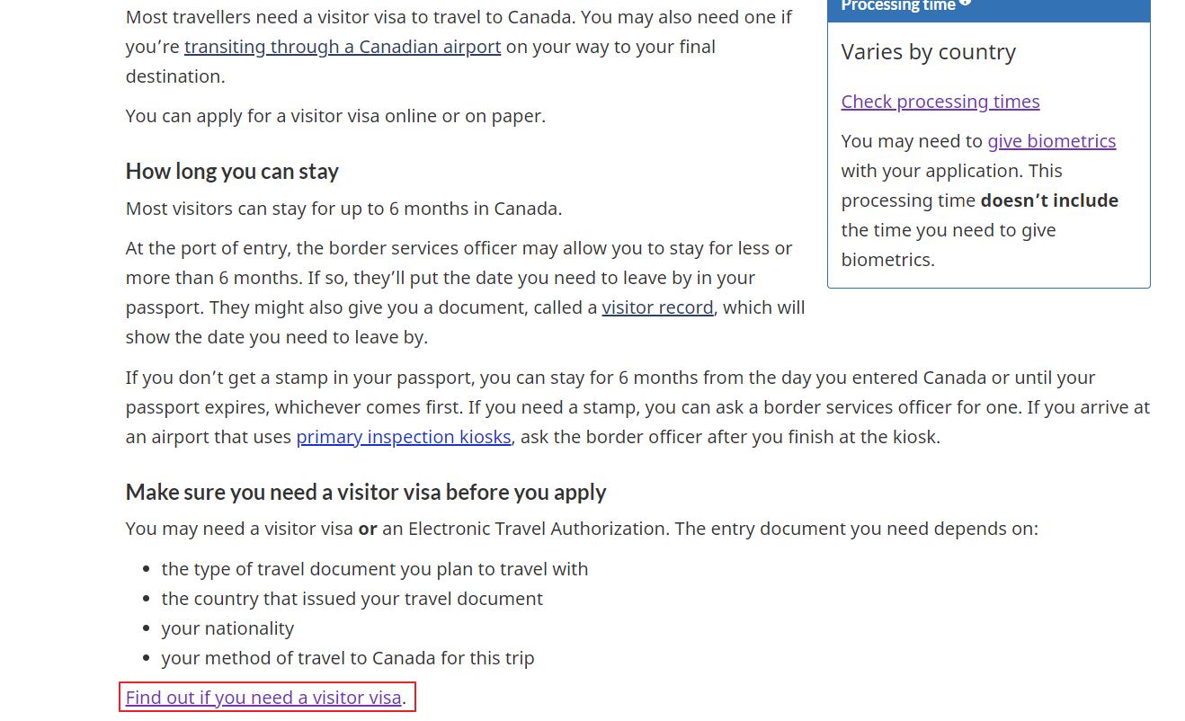 Canada Visitor Visa - Step 1