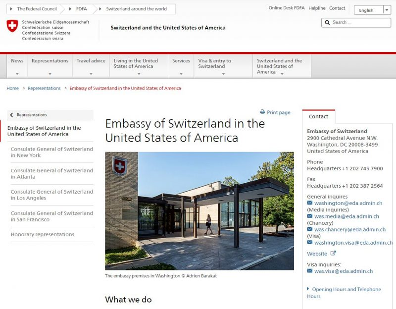 Swiss Embassy Washington DC