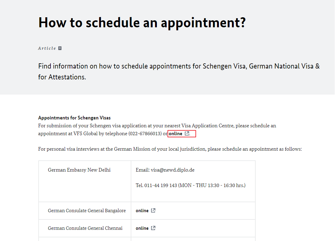 Germany Embassy in New Delhi - Schedule an appointment