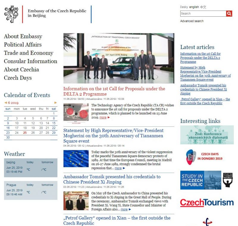Embassy of Czech Republic in Beijing - Home Page