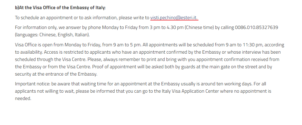 Embassy of Italy in Beijing - Schedule Appointment